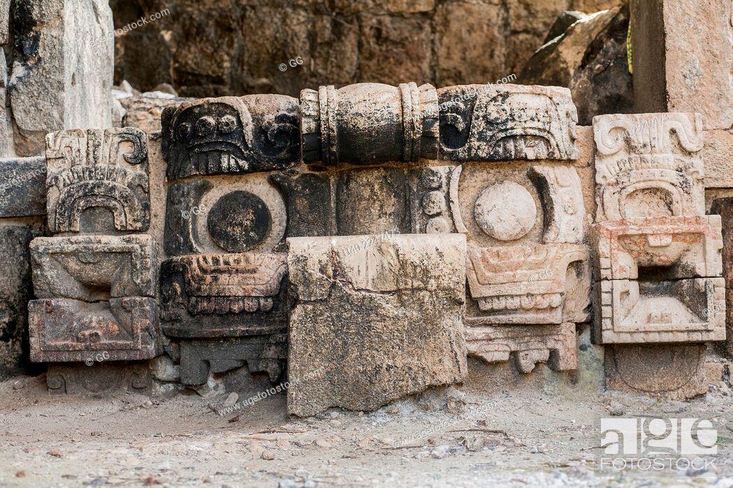 Stock Photo: Mexico, Kabah ruins, carvings.