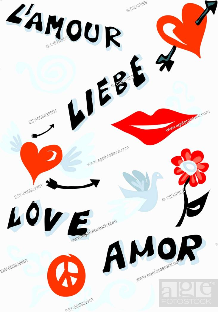 Stock Vector: Love icons poster.