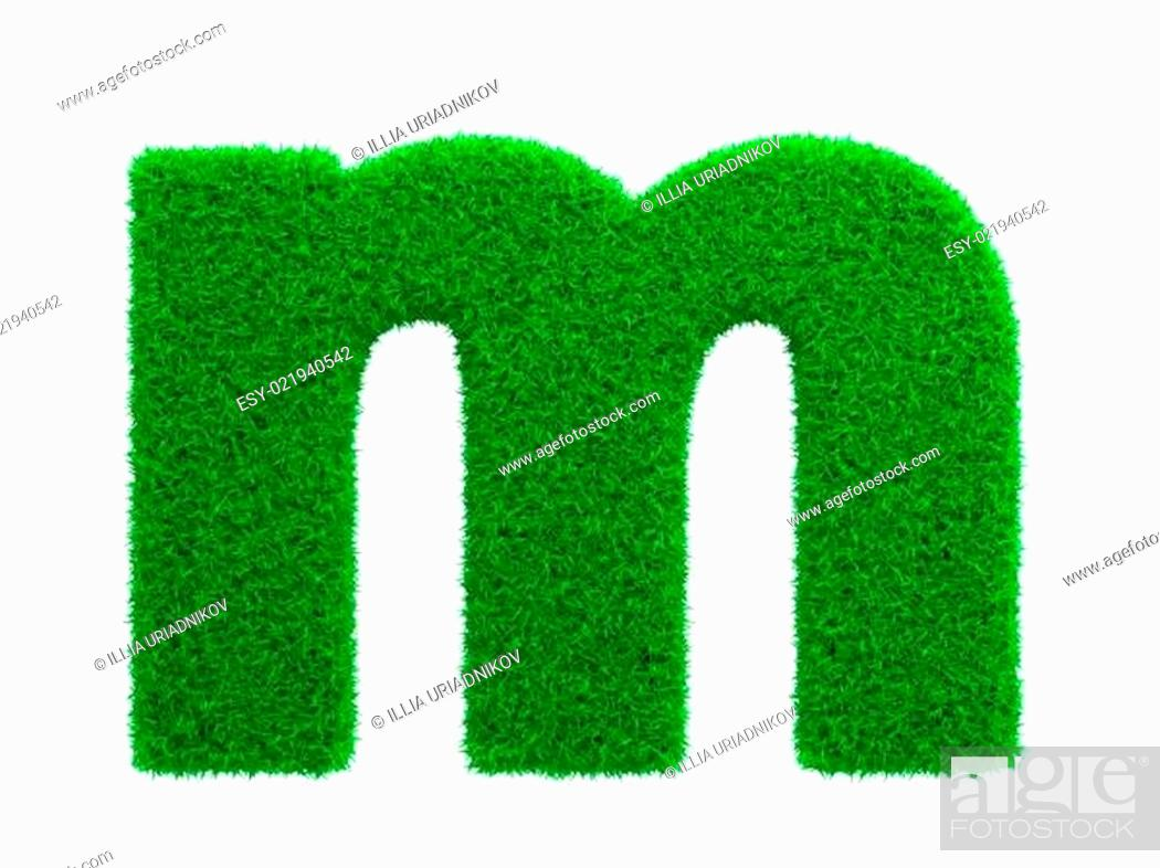 Stock Photo: Grass Letter Isolated on White.