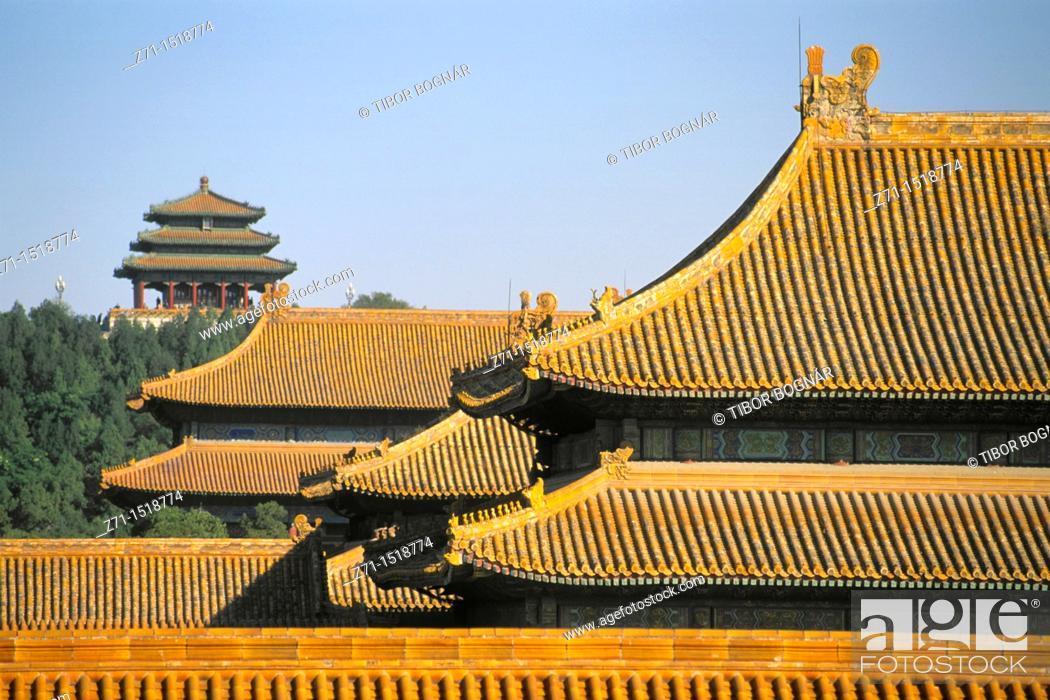 Stock Photo: Roofs, Forbidden City, Beijing, China.
