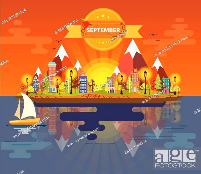 Stock Vector: Autumn landscape. Small town Set 5 Month of September Infographics Calendar Mountain, nature, park, building, boat, sail.