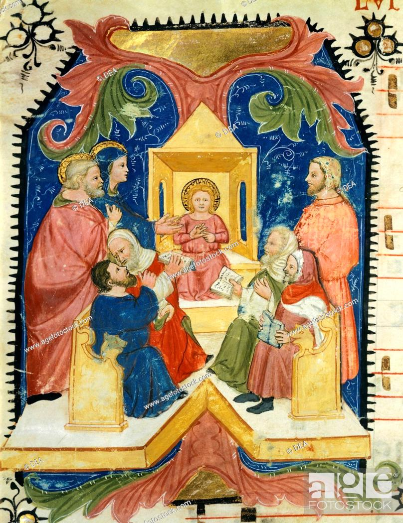 Stock Photo: Jesus among the doctors in the temple, miniature by Turone (active ca 1360), Italy 14th Century.  Verona, Biblioteca Capitolare.
