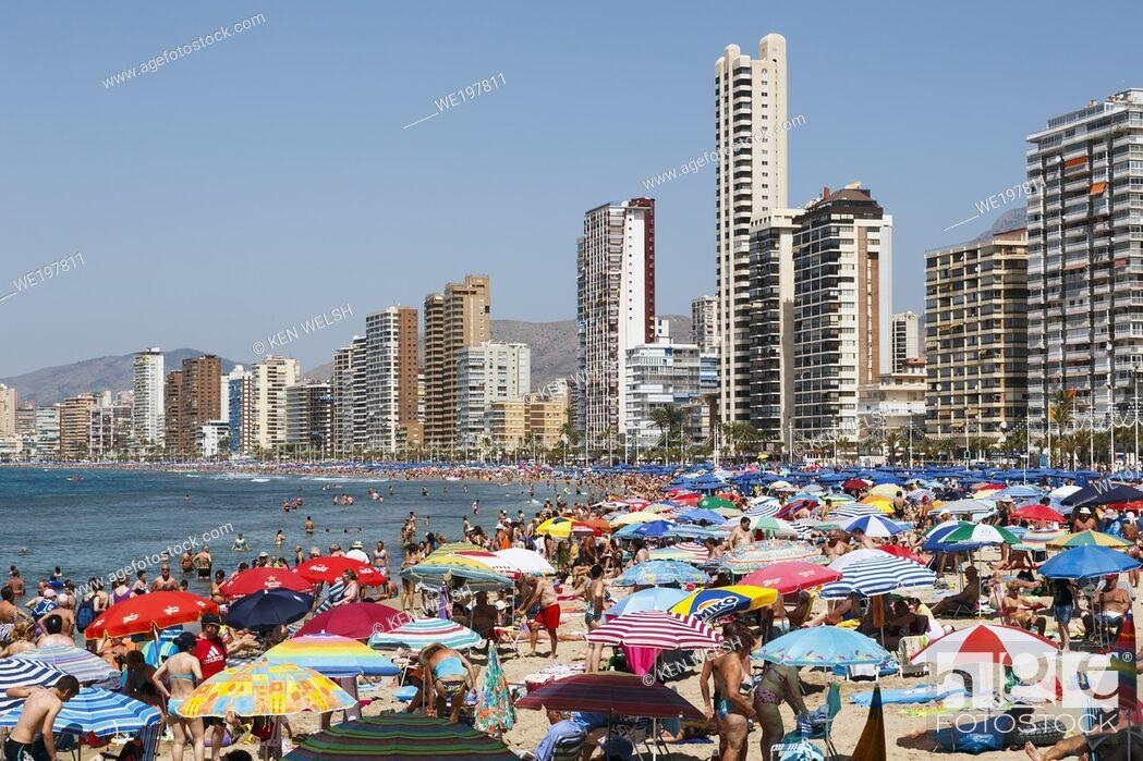 Stock Photo: Benidorm, Costa Blanca, Alicante Province, Spain. Levante beach in high season.