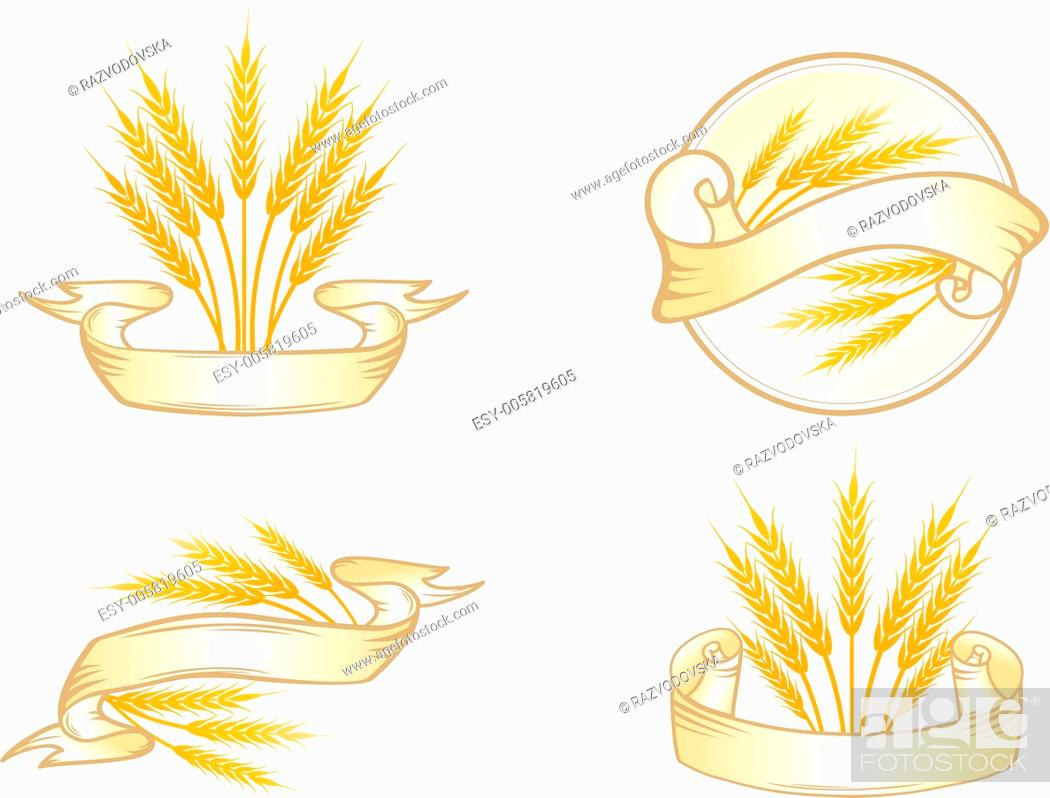 Stock Vector: Wheat Label Set.