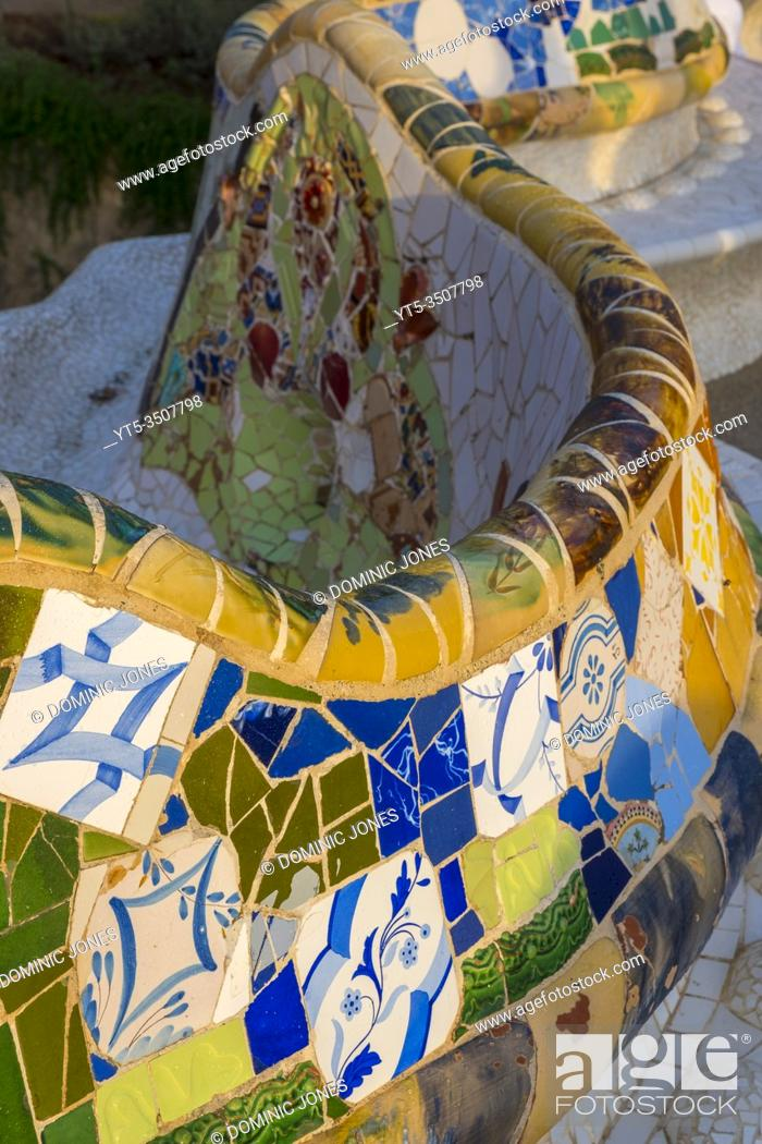 Stock Photo: A detail of the serpentine wall at Park Güell.