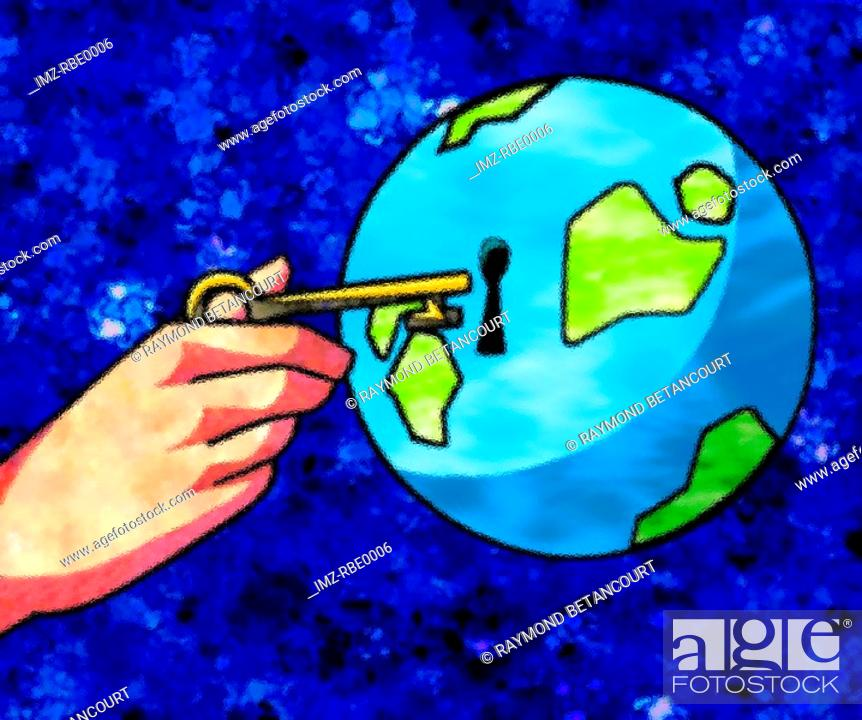 Stock Photo: A graphical representation of a hand unlocking the earth.