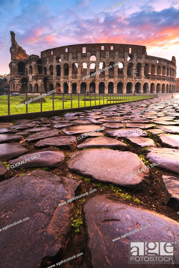 Stock Photo: Rome, Lazio, Italy. Colosseum at winter sunrise.