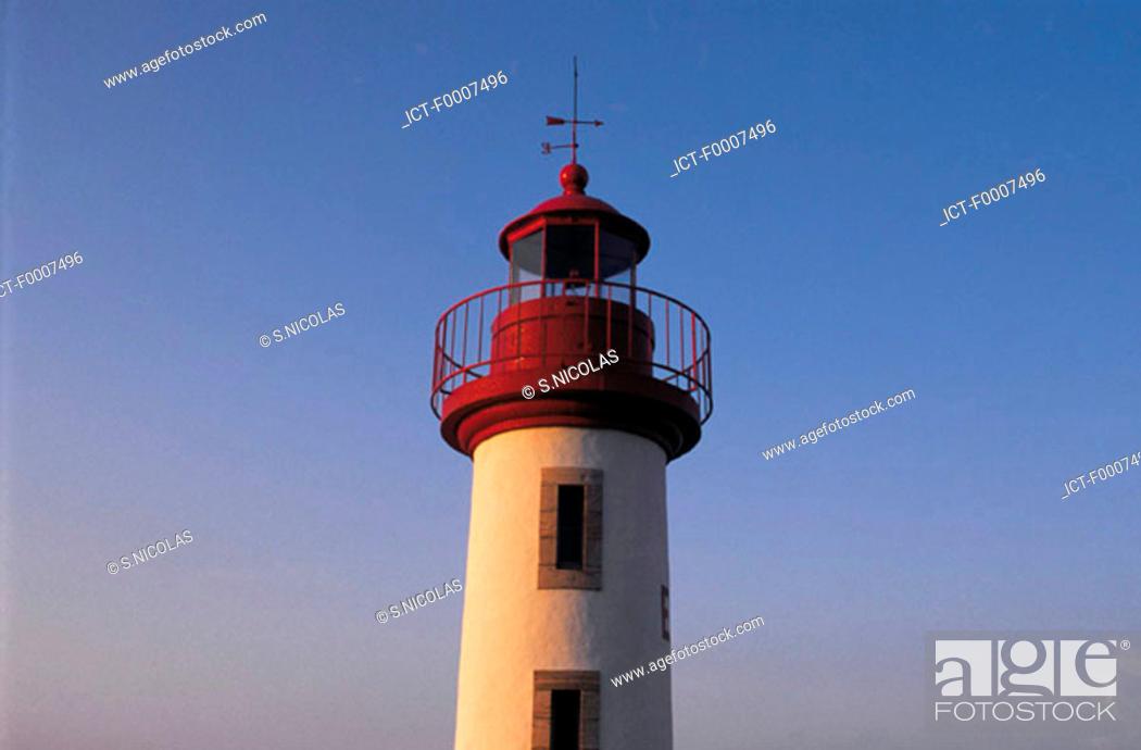 Stock Photo: France, Brittany, Erguy lighthouse.
