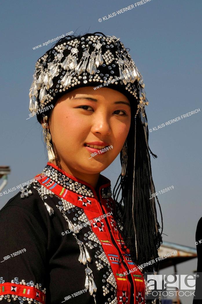 Stock Photo: Karen woman in traditional costume, ethnic minority, Inle Lake, Shan State, Myanmar, Burma, Southeast Asia, Asia.