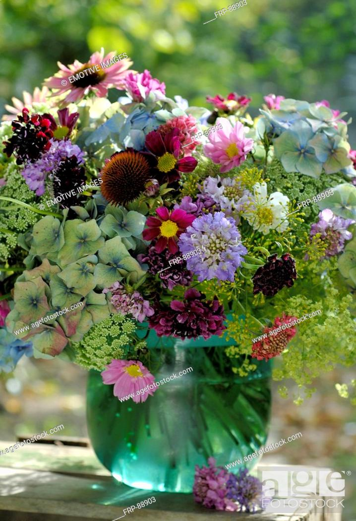 Stock Photo: Garden flowers in a vase.