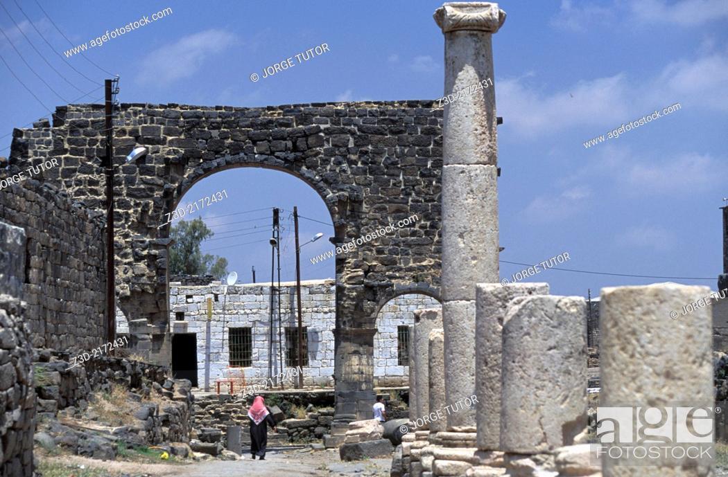 Stock Photo: Bal al-Qandil, Ancient Roman city of Bosra, Syria.