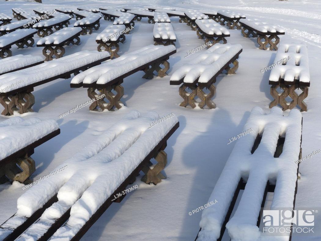 Stock Photo: Poland. Winter benches.