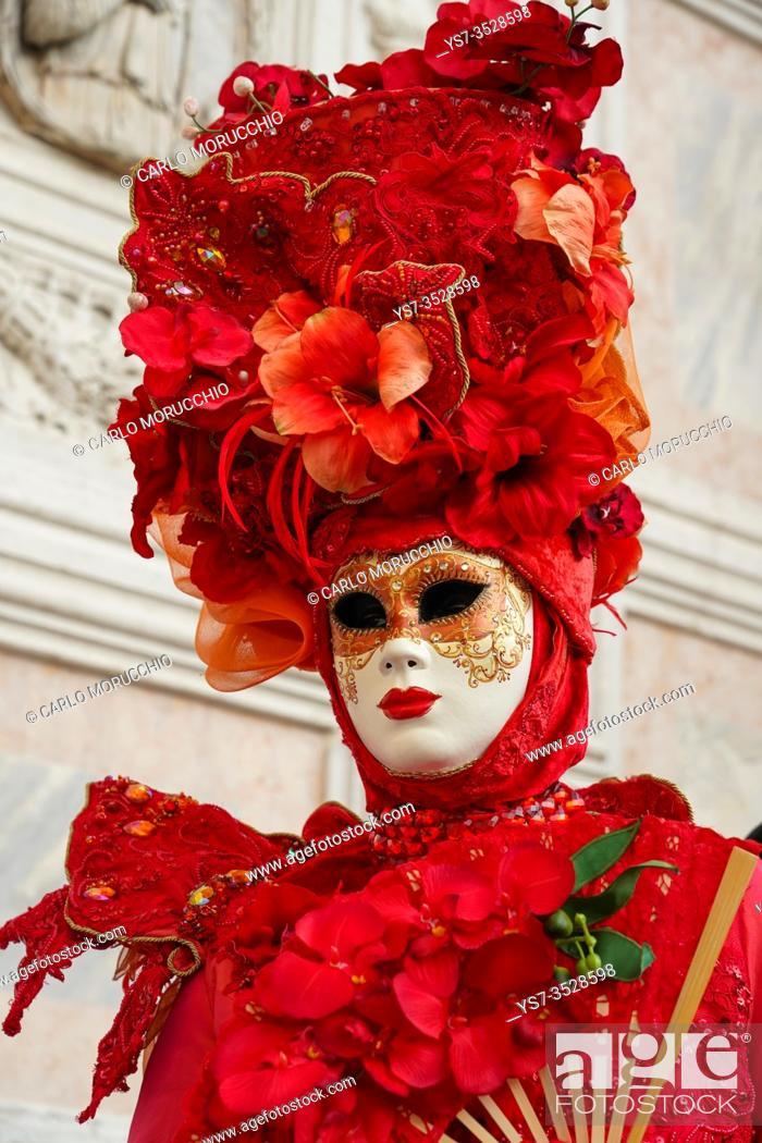Stock Photo: Masks at the Venice Carnival in St. Mark's Square, Venice, Veneto, Italy, Europe.