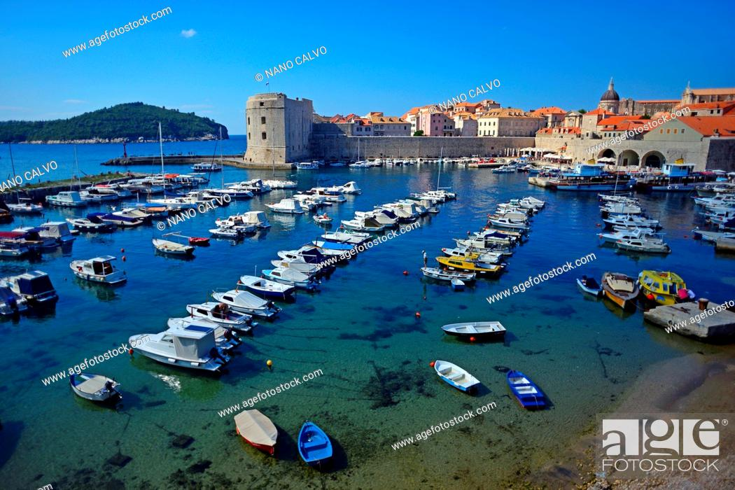 Stock Photo: Old port of Dubrovnik, Croatia.