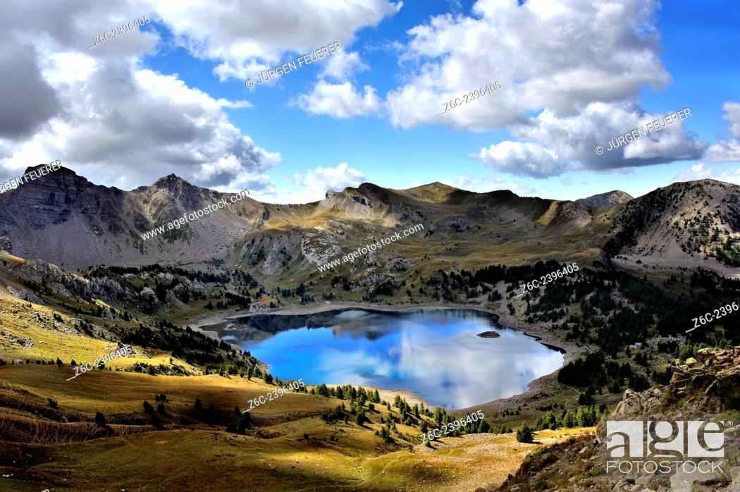 Stock Photo: Mountain lake Lac d`Allos, panorama view, Alpes-de-Haute-Provence, French Alps, France.