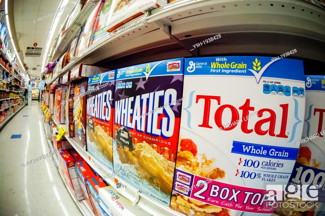 boxes of general mills breakfast cereals including wheaties and