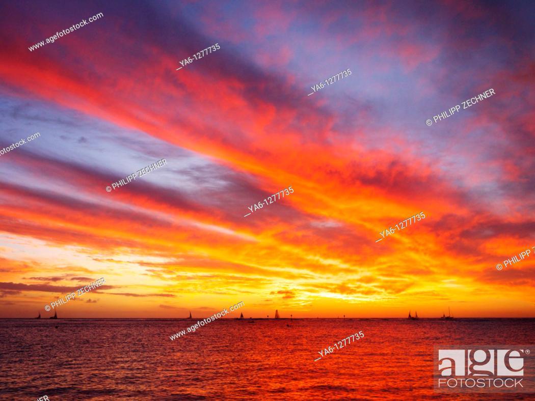Stock Photo: Sunset over Waikiki.