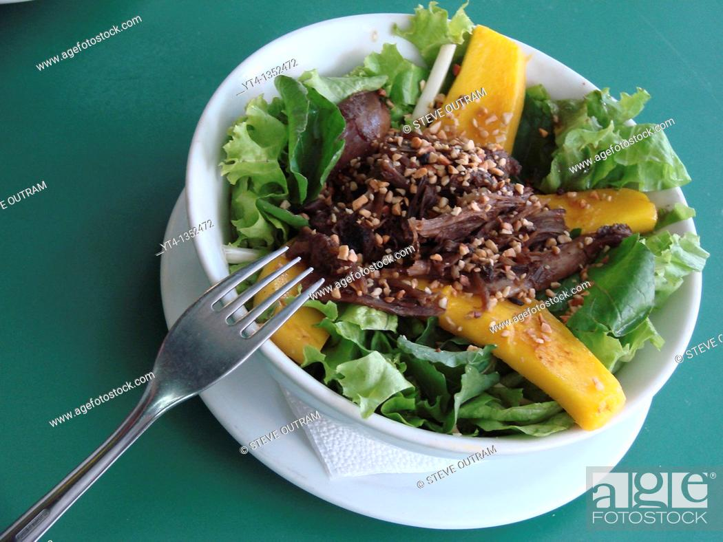 Stock Photo: Food from Brazil  Salad de Pato  Argula, Lettuce, Grilled Mango and Shredded Duck  The Academia da Cachaca Restaurant , Rio de Janeiro, Brazil.
