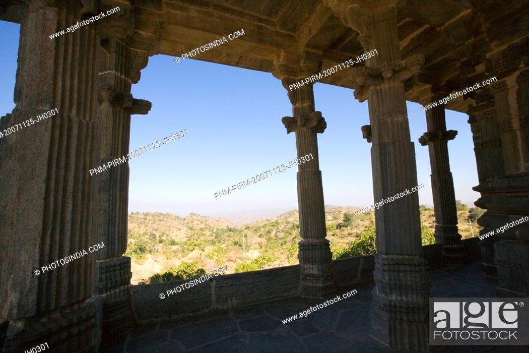 Stock Photo: Colonnade in a fort, Kumbhalgarh Fort, Udaipur, Rajasthan, India.