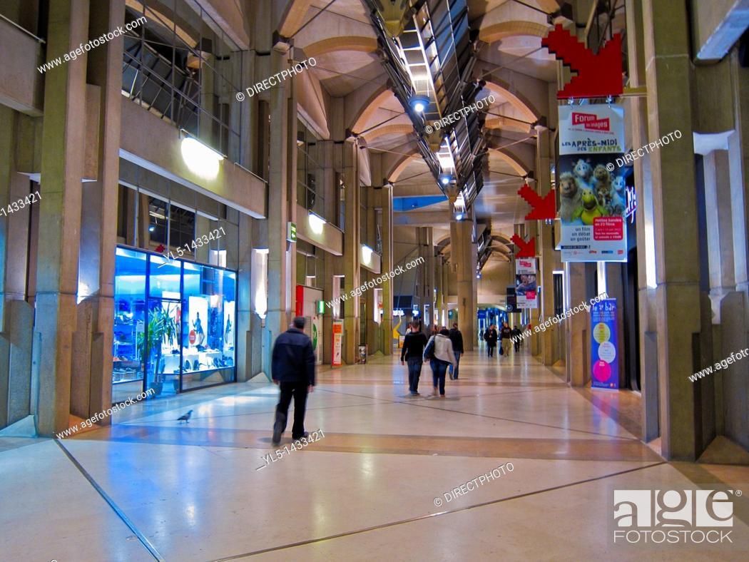 paris france le forum des halles shopping center inside stock