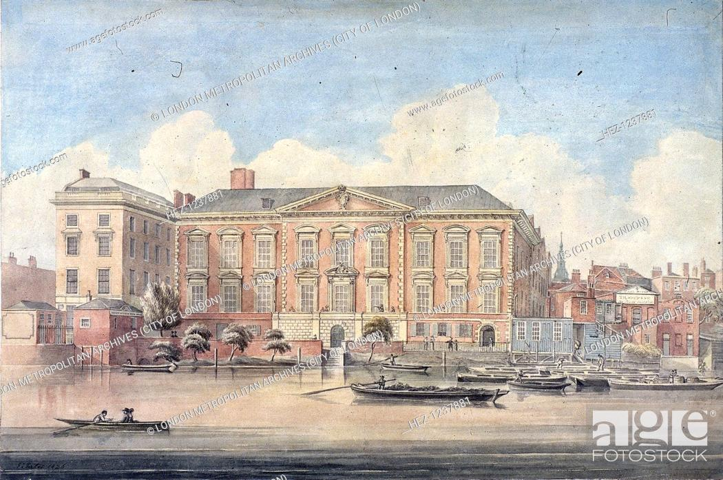 Photo de stock: Fishmongers' Hall, London, 1826. View of Fishmongers' Hall, with boats on the River Thames.