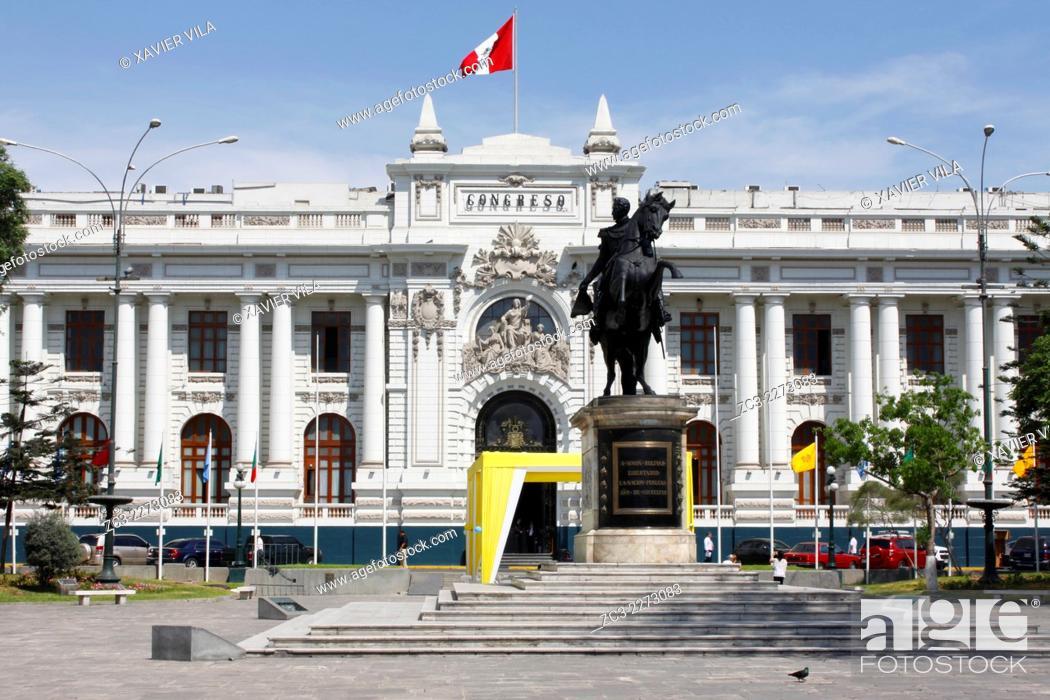 Stock Photo: Congress of the Republic of Peru, Congreso de la Republica del Peru, Lima, capital of Peru.