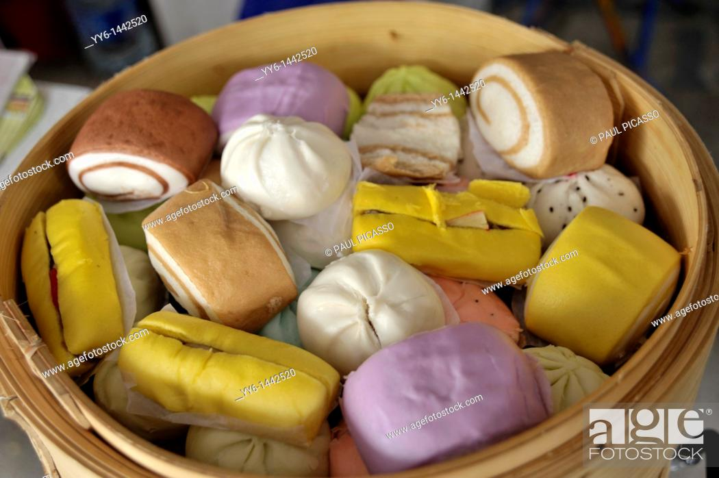 Stock Photo: chinese colourful buns and cakes , chinese delicacy, chinatown , bangkok, thailand.