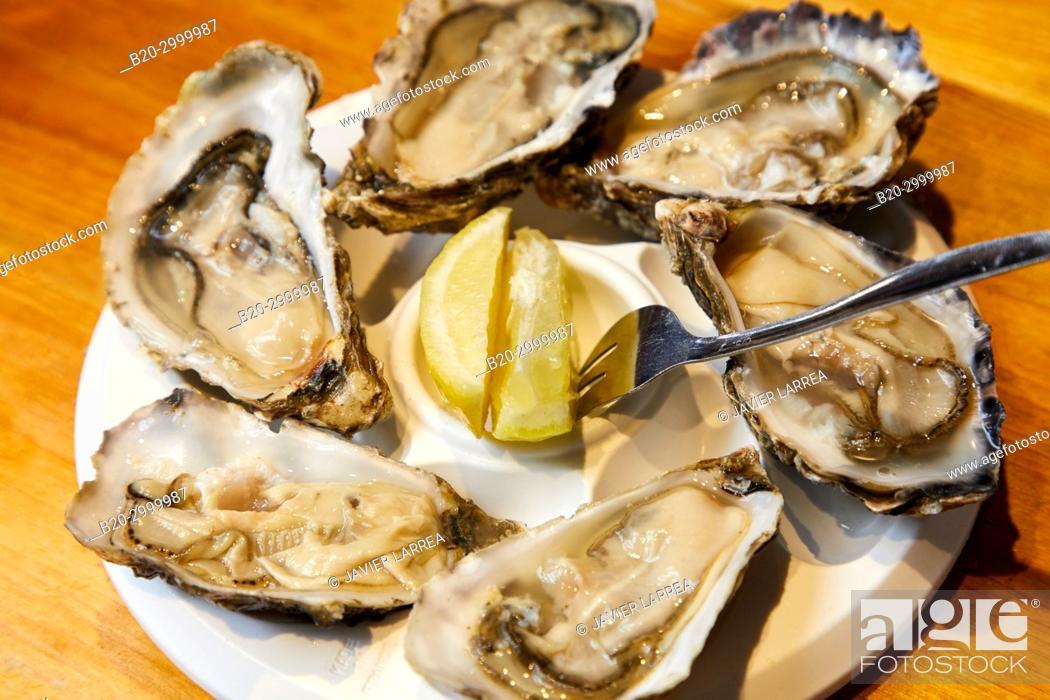Stock Photo: Oysters, Bar Restaurante Portaletas, Parte Vieja, Old Town, Donostia, San Sebastian, Gipuzkoa, Basque Country, Spain.