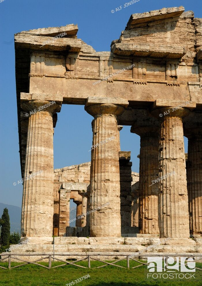 Stock Photo: Greek temple, Temple of Neptune in Paestum, Campania, Italy, Europe.