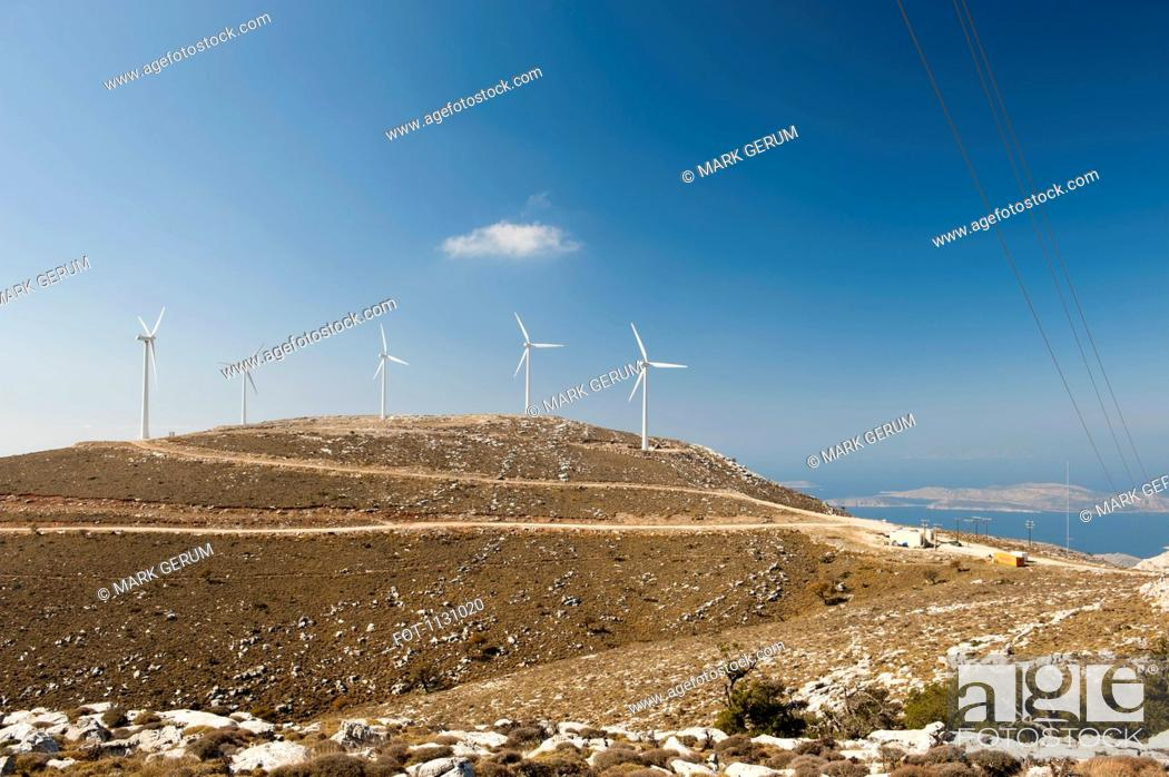 Stock Photo: Wind turbines on a hill, Rhodes, Greece.