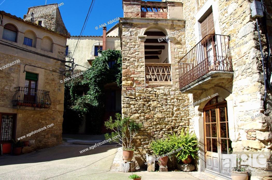 Stock Photo: Centro medieval de Palau-Sator, Baix Emporda, Girona.