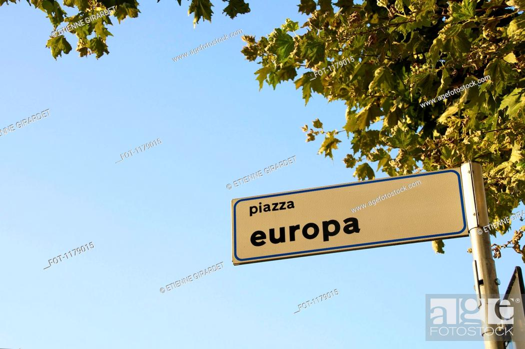 Stock Photo: Sign for Europa piazza.