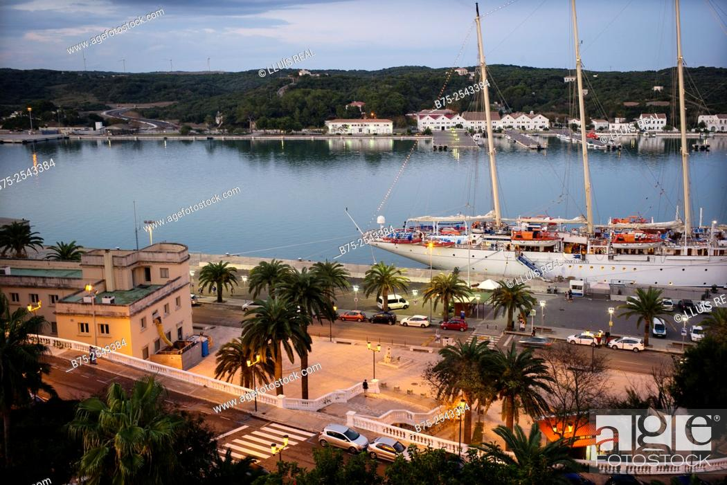 Stock Photo: View of Port Mahon, with a classic sailing boat cruise ship moored at the pier. Mahon, Maó, Menorca, Balearic Islands, Spain, Europe.