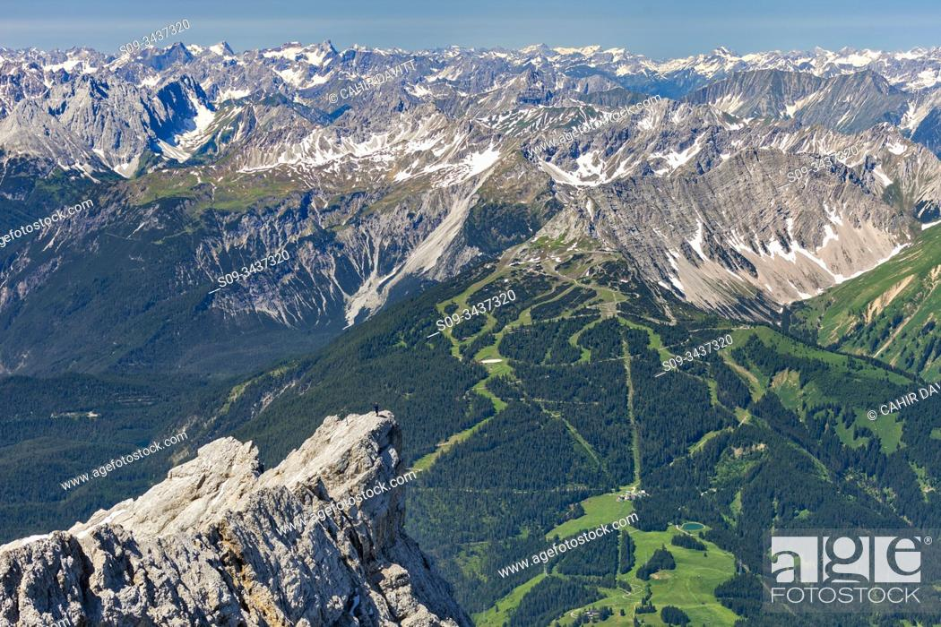 Stock Photo: View from the 2962 Panorama deck on Germany's highest mountain, looking in the direction of Lermoos on the Austrian side of the Zugspitze.