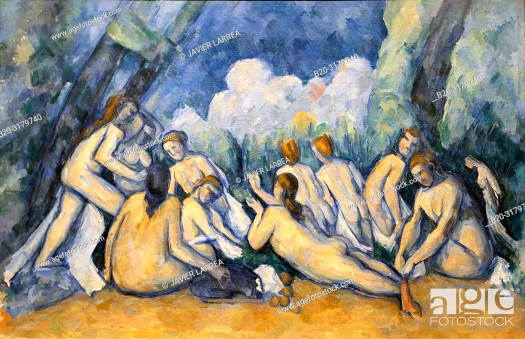 "Stock Photo: """"""Bathers (Les Grandes Baigneuses)"""", a. 1894-1905, Paul Cézanne, National Gallery, London. England. UK."