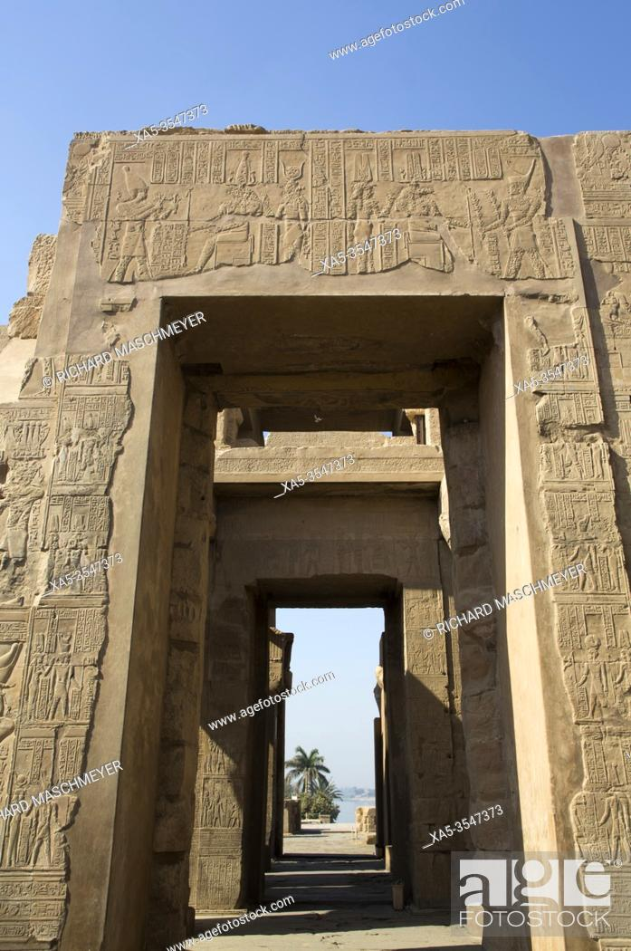 Stock Photo: Wall with Reliefs, Temple of Sobek and Haroeris, Kom Ombo, Egypt.