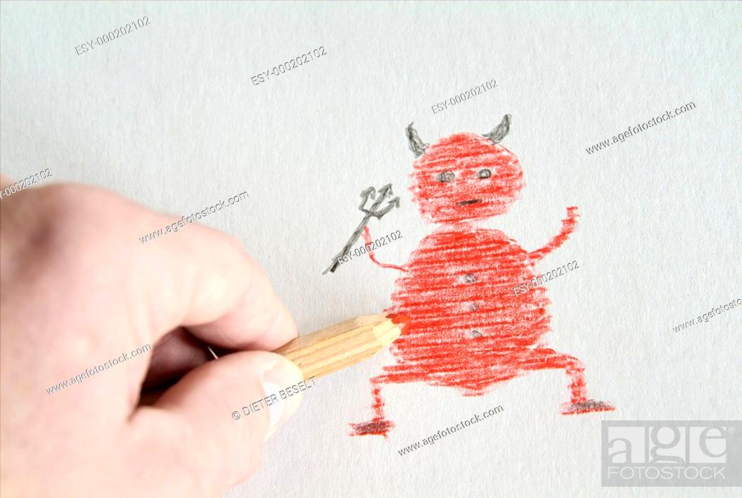Den Teufel An Die Wand Malen Stock Photo Picture And Low Budget