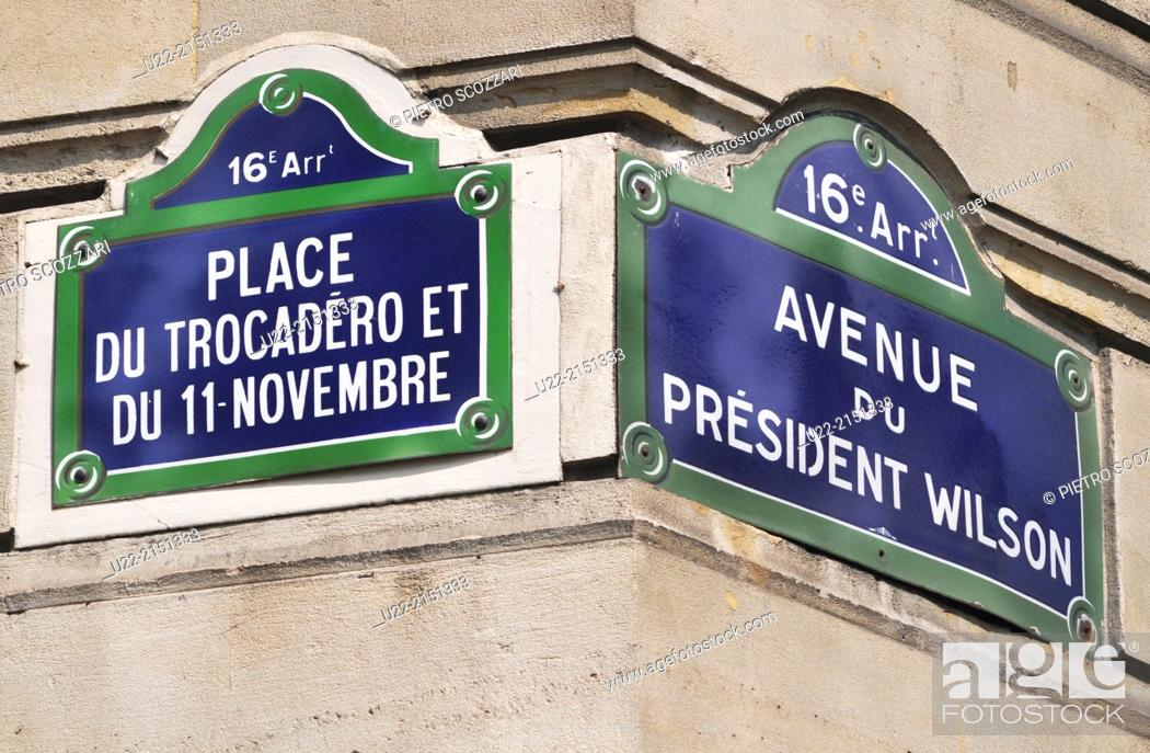 Stock Photo: Paris, France, signs at the corner between Place de Trocadero and Avenue Wilson.
