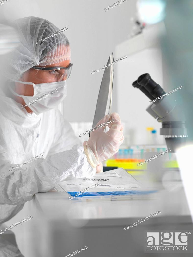 Stock Photo: Forensic scientist with evidence in lab.