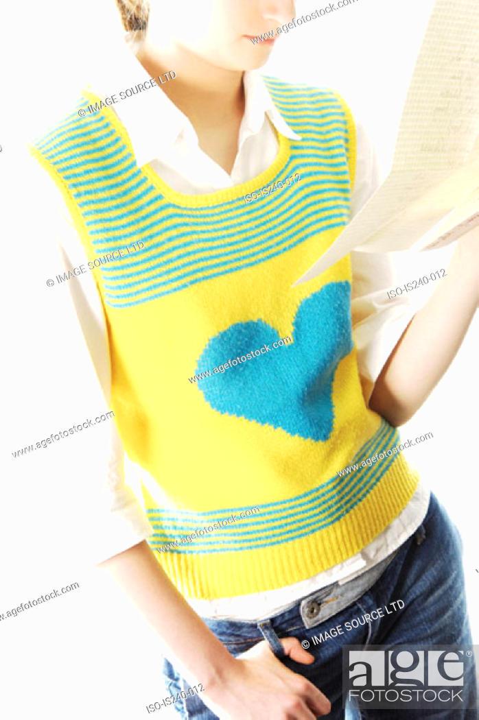 Stock Photo: Man wearing heart shape tank top.