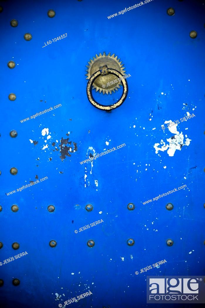 Stock Photo: Blue door, Larache, Morocco.