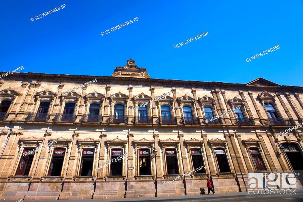 Stock Photo: Low angle view of a government building, Palacio Federal, Morelia, Michoacan State, Mexico.
