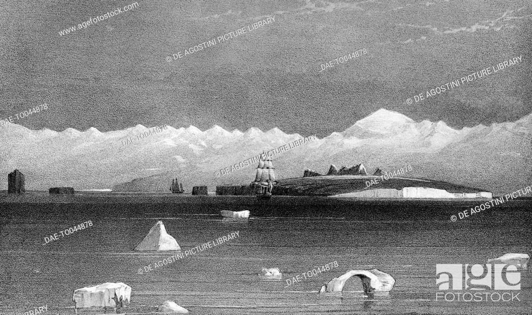 Imagen: View from the sea of Mount Sabine and Possession Island, Antarctica, illustration from Voyage in the Southern and Antarctic Regions.