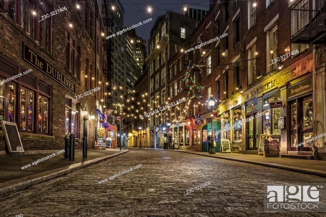 Stock Photo: Stone Street Manhattan NYC - One of the oldest streets in the heart of the Financial District in New York City. . . Originally known by its Dutch name.