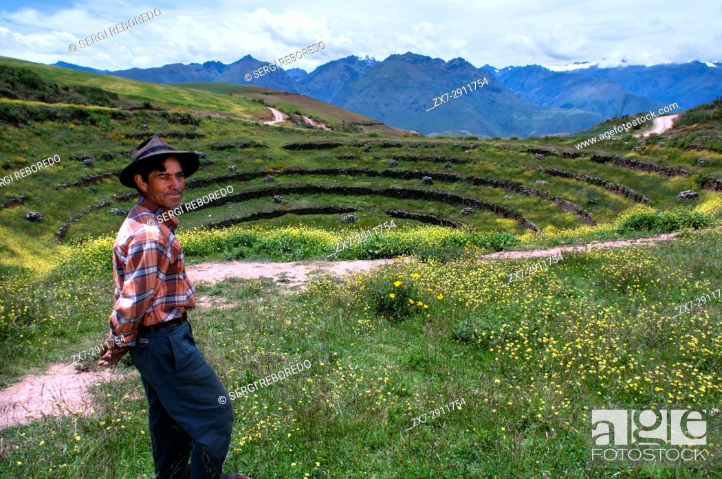 Stock Photo: A pastor in the archaeological site of Moray in the Sacred Valley near Cuzco. Moray - is the name of the Incan ruins near the town of Maras.