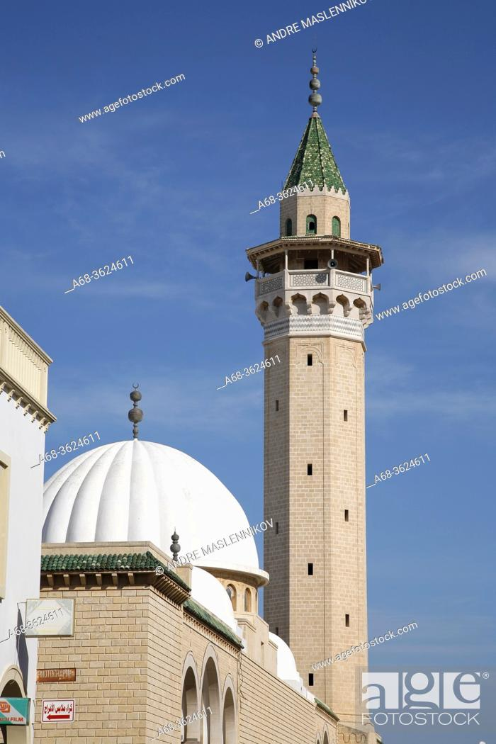 Stock Photo: A mosque and minaret in Monastir. Tunisia. Photo: André Maslennikov.