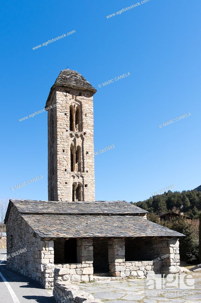 Stock Photo: Church of Sant Miquel d'Engolasters, Andorra.