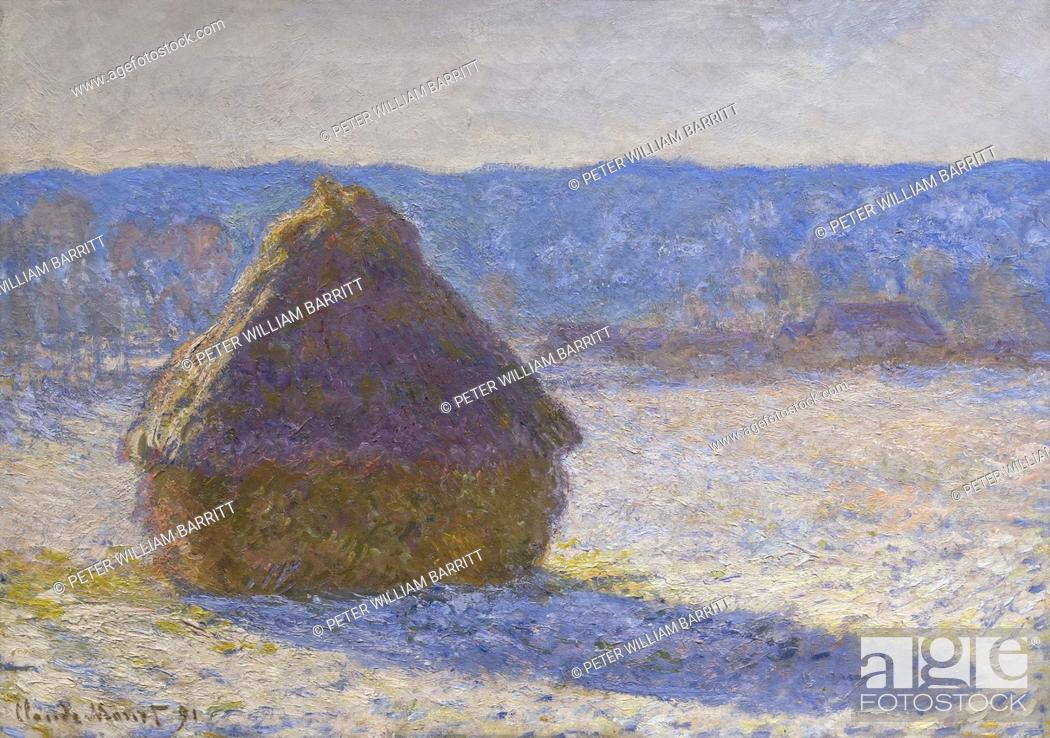Photo de stock: Grainstack, Snow Effect, Claude Monet, 1891, .
