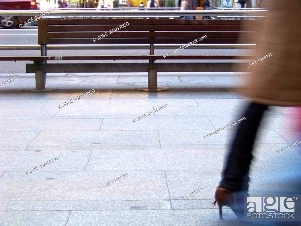 Stock Photo: Banco en la Gran Via, Madrid, España.