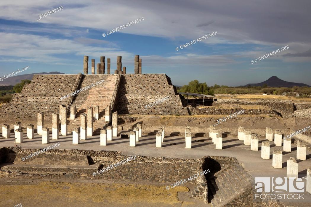 Stock Photo: Overview of the ancient Toltec capital city of Tula or Tollan in Central Mexico.